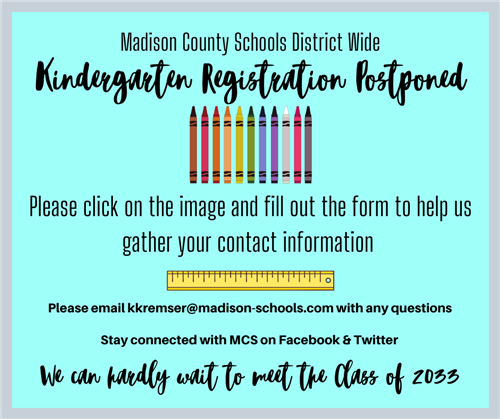 kindergarten registration postponed
