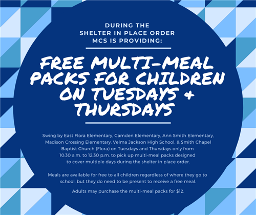Free multi-meal packs for children available for pick up on Tuesdays and Thursdays at meal distribution locations
