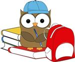 owl with books and bag
