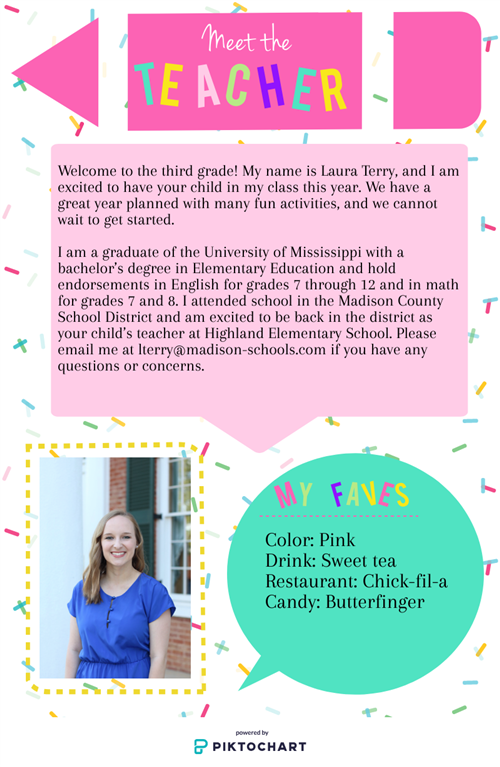 Hello! My name is Laura Terry, and I am excited to have your child in my class this year.