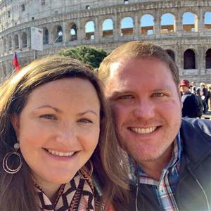 Mrs. Hall and husband in Rome