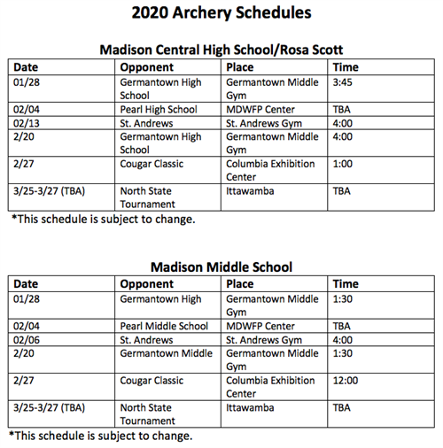 2020 Archery Schedules