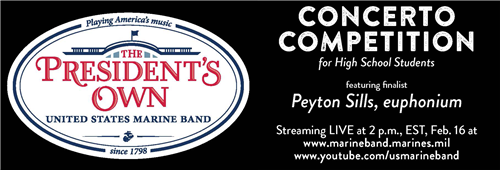 Click for live streaming performance of Peyton Sills, featured soloist on Feb 16 at 2 p.m. EST
